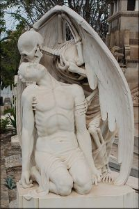 Stone marble sculpture, Stone carving - The kiss of death sculpture